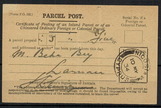 CYPRUS - 1934 use of PARCEL FORM at NICOSIA.