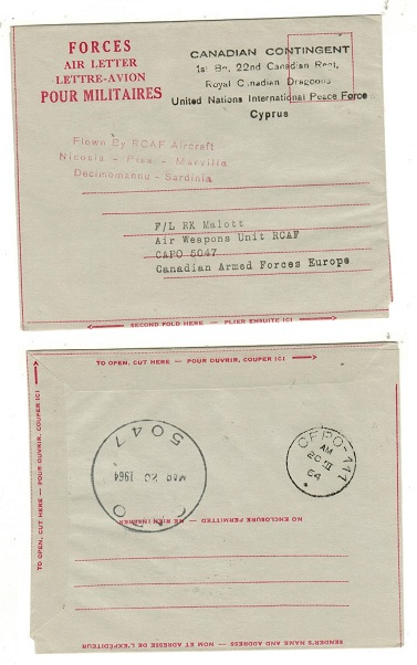 CYPRUS - 1965 FORCES AIR LETTER (no message) addressed to CAPO 5047.