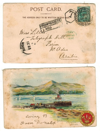ADEN - 1903 inward postcard from UK with scarce