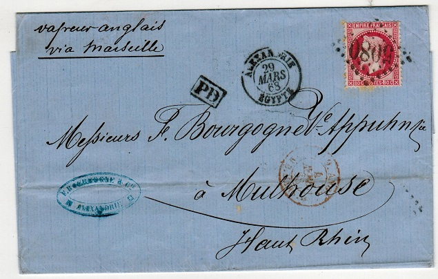 EGYPT - 1868 outer wrapper to France bearing French 80c red tied by