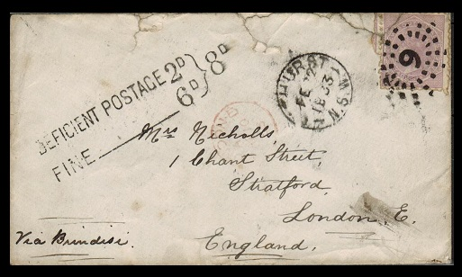 AUSTRALIA (New South Wales) - 1883 6d rate cover to UK used at BATHURST with