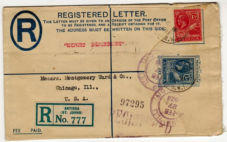 ANTIGUA - 1924 3d ultramarine RPSE uprated to USA.  H&G 3.