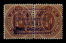 CAYMAN ISLANDS - 1908 1/4d brown pair used at EAST END/RURAL/POST COLLECTION.  SG 38.