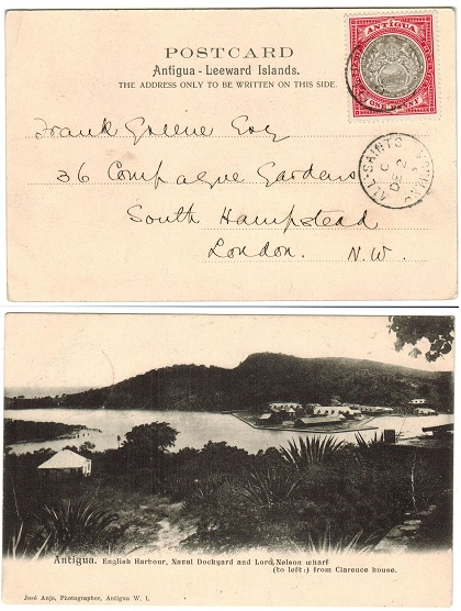 ANTIGUA - 1903 1d rate postcard to UK used at ALL SAINTS.