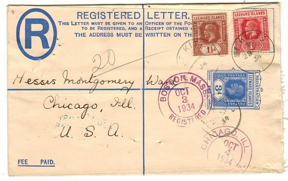 ST.KITTS - 1926 3d ultramarine RPSE of Leeward Islands uprated to USA.  H&G 5a.