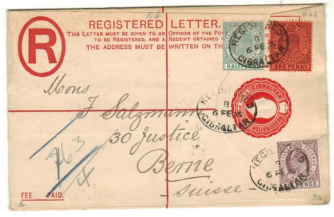GIBRALTAR - 1902 2d red RPSE uprated to Switzerland.  H&G 11a.