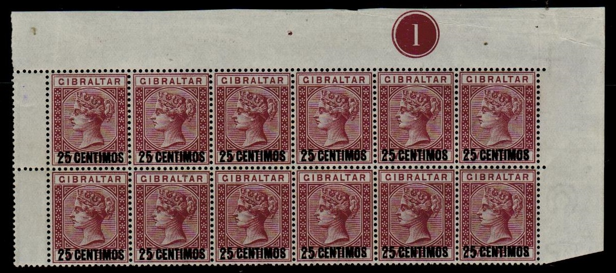 GIBRALTAR - 1889 25c on 2d brown purple mint block of 12 with SHORT FOOT 5 variety.  SG 17/17a.