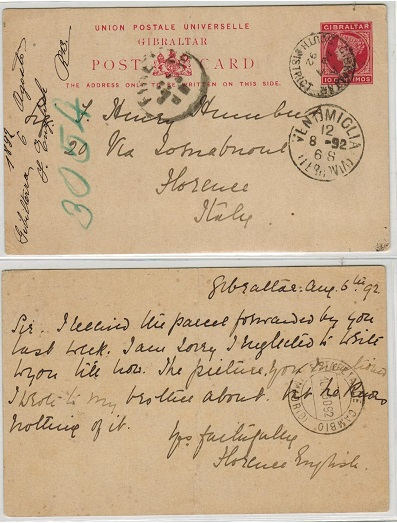 GIBRALTAR - 1889 10c rose PSC to Italy (crease) used at SOUTH DISTRICT.  H&G 16.