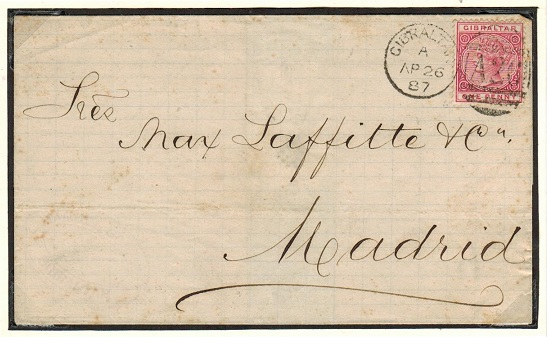 GIBRALTAR - 1887 1d rate wrapper addressed to Spain.