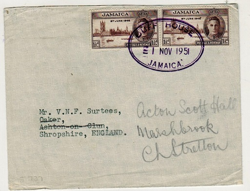 JAMAICA - 1951 3d rate cover to UK used at DUFF HOUSE.