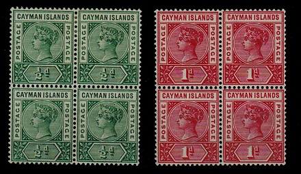 CAYMAN ISLANDS - 1900 1/2d green and 1d carmine in mint blocks of four.  SG 1a+2.