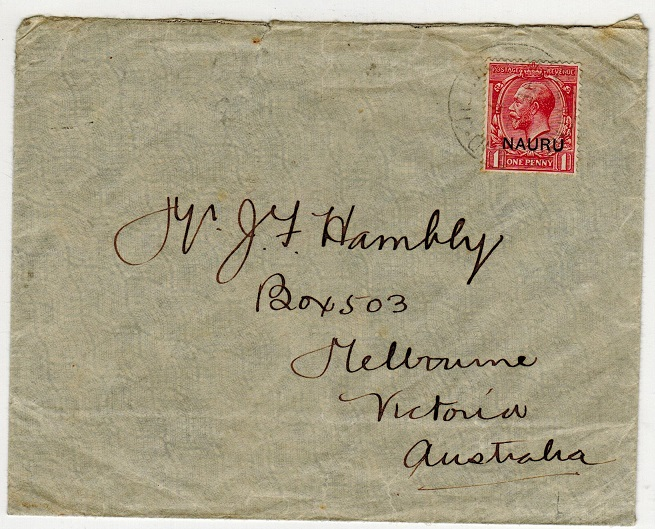 NAURU - 1917 1d rate cover to Australia used at PLEASANT ISLAND.
