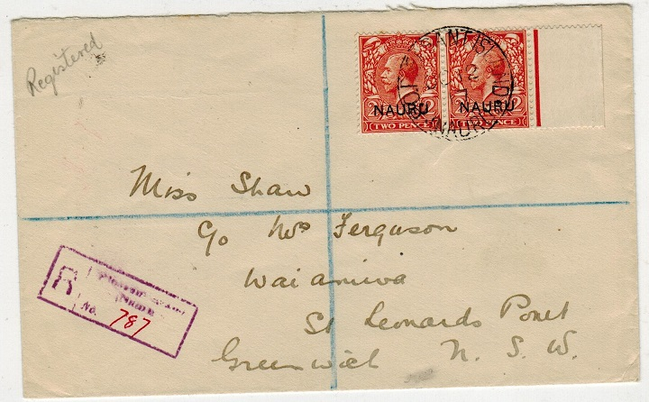 NAURU - 1917 4d rate registered cover to Australia used at PLEASANT ISLAND.