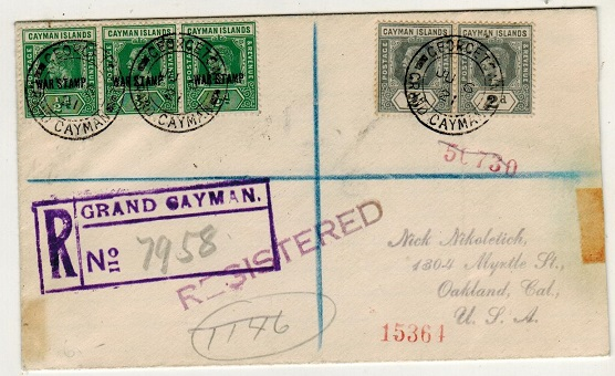 CAYMAN ISLANDS - 1921 4d rate registered cover to USA with 1/2d
