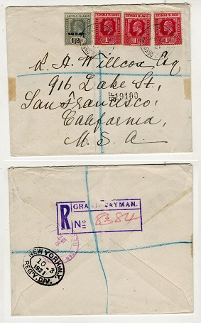 CAYMAN ISLANDS - 1921 3d rate registered cover to USA (crease) with 1 1/2d
