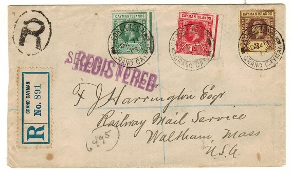 CAYMAN ISLANDS - 1913 4 1/2d rate registered cover to USA used at GEORGETOWN.
