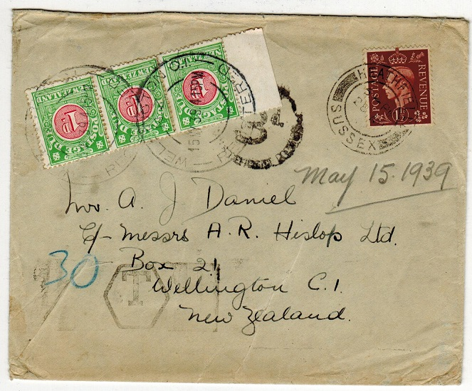NEW ZEALAND - 1939 inward underpaid cover from UK with 1d (x3)