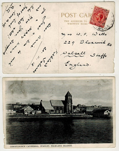 FALKLAND ISLANDS - 1916 1d rate postcard use to UK.