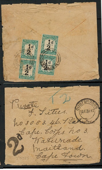 SOUTH AFRICA - 1917 (tatty/faults) underpaid cover with Transvaal 1/2d dues used at MAITLAND.