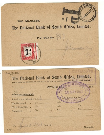 SOUTH AFRICA - 1922 unpaid commercial card with 1d