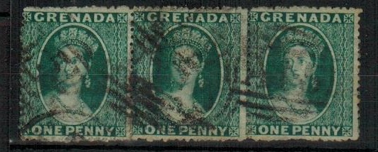 GRENADA - 1873 1d blue green used strip of three.  SG 11.