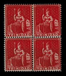 TRINIDAD AND TOBAGO - 1876 1d scarlet mint block of four with REVERSED WATERMARK.  SG 75x