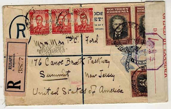 SOUTHERN RHODESIA - 1937 4d ultramarine censored RPSE uprated to USA used at RUSAPE.   H&G 3.