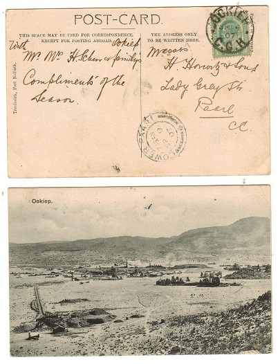 CAPE OF GOOD HOPE - 1907 1/2d rate local postcard use used at OCKIEP.