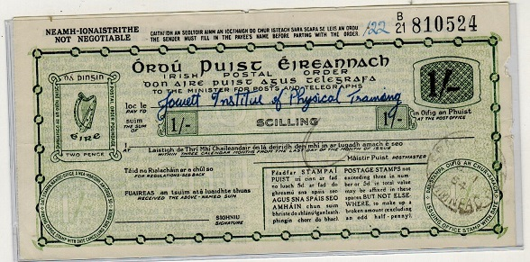 IRELAND - 1954 (18.1.) issued 1/- green on cream uncashed IRISH POSTAL ORDER in fine condition.