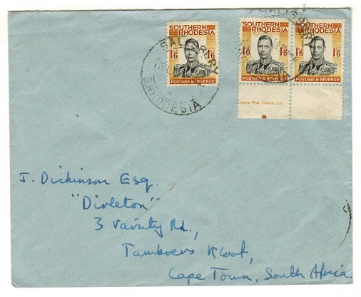SOUTHERN RHODESIA - 1949 cover to Cape Town used at SALISBURY.