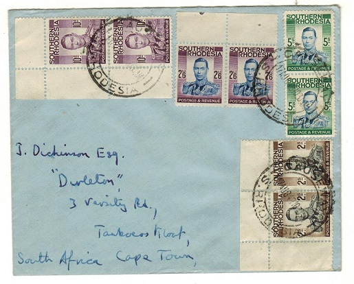 SOUTHERN RHODESIA - 1949 high franking cover to Cape Town used at SALISBURY.