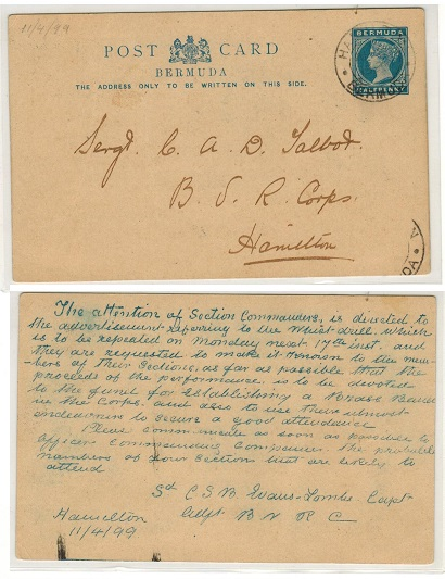 BERMUDA - 1885 1/2d blue PSC used locally to the