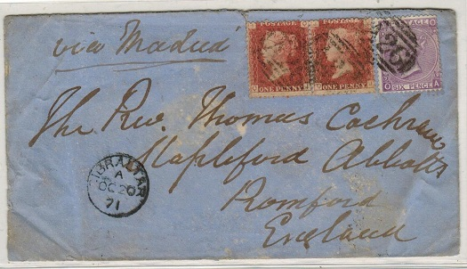 GIBRALTAR - 1871 8d rate cover to UK with GB 1d red(x2) and 6d tied