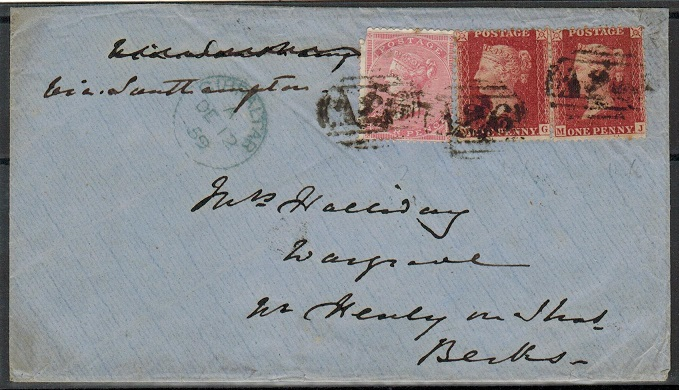 GIBRALTAR - 1859 6d rate cover to UK with GB 1d red (x2) and 4d tied