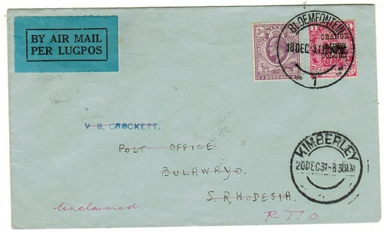 SOUTH AFRICA - 1931 cover to Bulawayo bearing