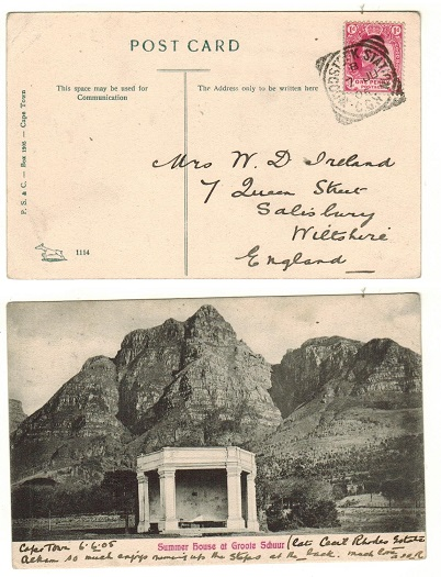 CAPE OF GOOD HOPE - 1905 1d rate postcard use to UK used at WOODSTOCK STATION.