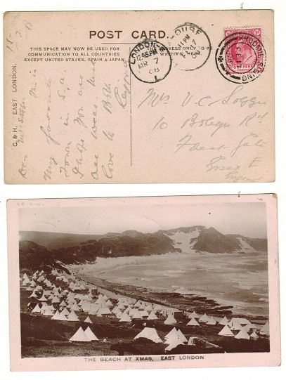 CAPE OF GOOD HOPE - 1908 1d rate postcard use to UK used at KROOMIE SIDING.