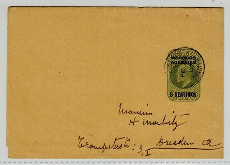 MOROCCO AGENCIES - 1906 5c on 1/2d postal stationery wrapper used at TANGIER.  H&G 6.