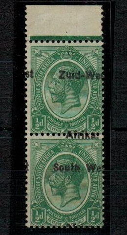 SOUTH WEST AFRICA - 1923 1/2d green mint vertical pair with MISPLACED OVERPRINT.  SG 1.
