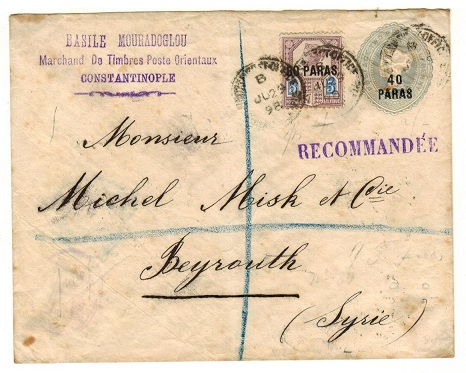 BRITISH LEVANT - 1893 40p on 2 1/2d grey-blue PSE uprated and registered to Syria. H&G 1.
