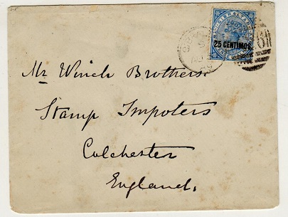 GIBRALTAR - 1889 25c on 2 1/2d surcharge cover addressed to UK.