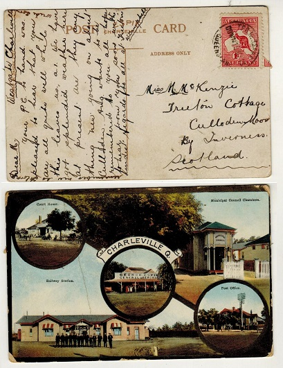 AUSTRALIA - 1913 1d rate postcard use (crease) to UK used at