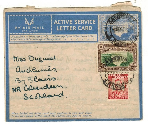 SOUTHERN RHODESIA - 1944 3d blue Active Service Letter Card uprated to UK at SALISBURY.  H&G 4.