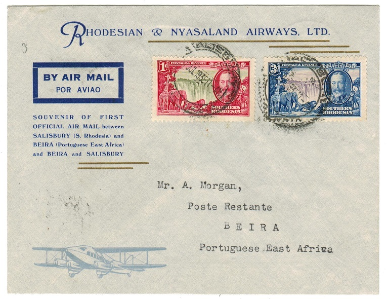 SOUTHERN RHODESIA - 1935 first flight cover to Beira.