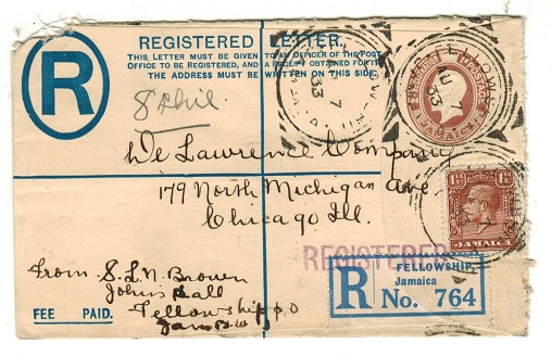 JAMAICA - 1913 2d+1d brown RPSE to USA (opened on 2 sides) cancelled FELLOWSHIP.  H&G 1a.