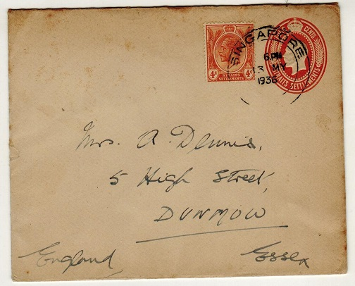 SINGAPORE - 1935 4c brown-orange PSE of Straits Settlements to UK uprated. H&G 3.