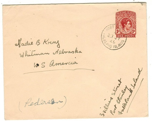 FALKLAND ISLANDS - 1938 1d brown-red PSE to USA used at PORT STANLEY.  H&G 7.