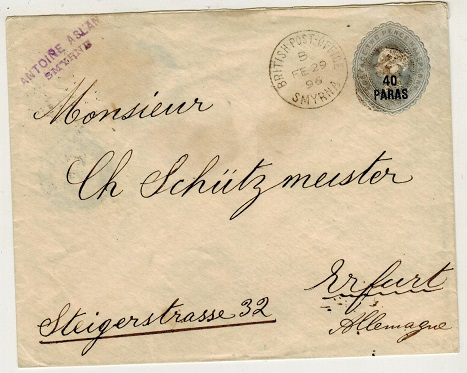 BRITISH LEVANT - 1893 40p on 2 1/2d PSE to Germany used at SMYRNA. H&G 1.