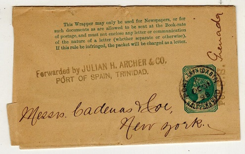 TRINIDAD AND TOBAGO - 1884 1/2d green postal stationery wrapper to USA with