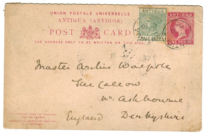 ANTIGUA - 1886 1d outward section of 1d+1d carmine PSRC uprated to UK.  H&G 4.